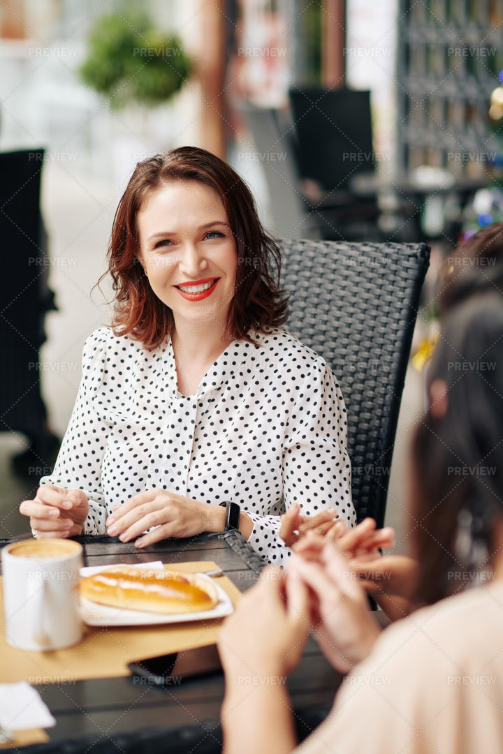 Woman Having Lunch With Friends: Stock Photos