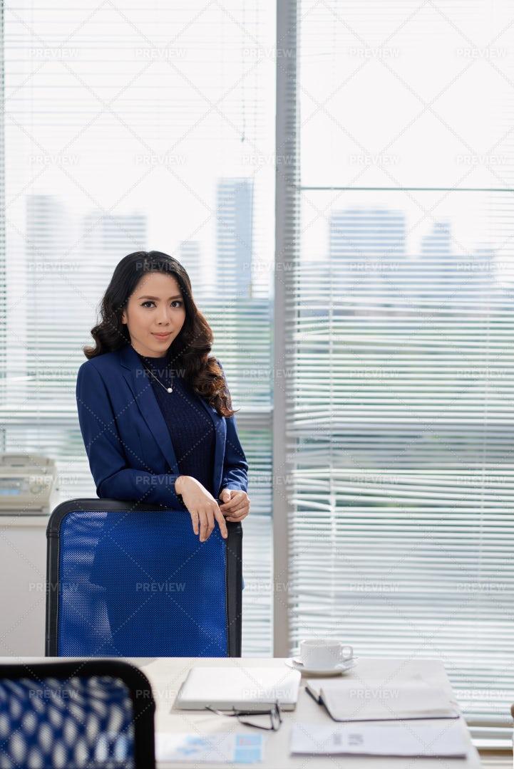Female Executive At Business Meeting At: Stock Photos
