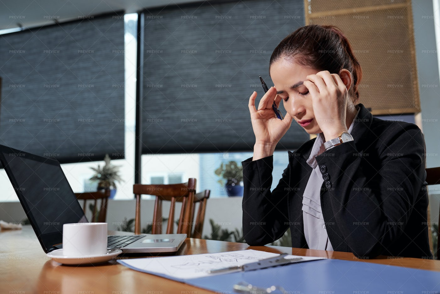 Businesswoman Trying To Concentrate On: Stock Photos