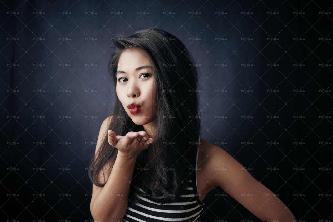 Woman Flirting At Camera: Stock Photos