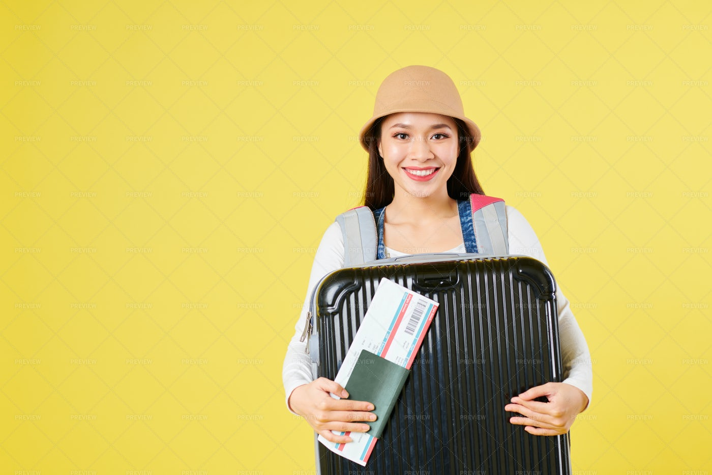 Cheerful Tourist With Big Suitcase: Stock Photos