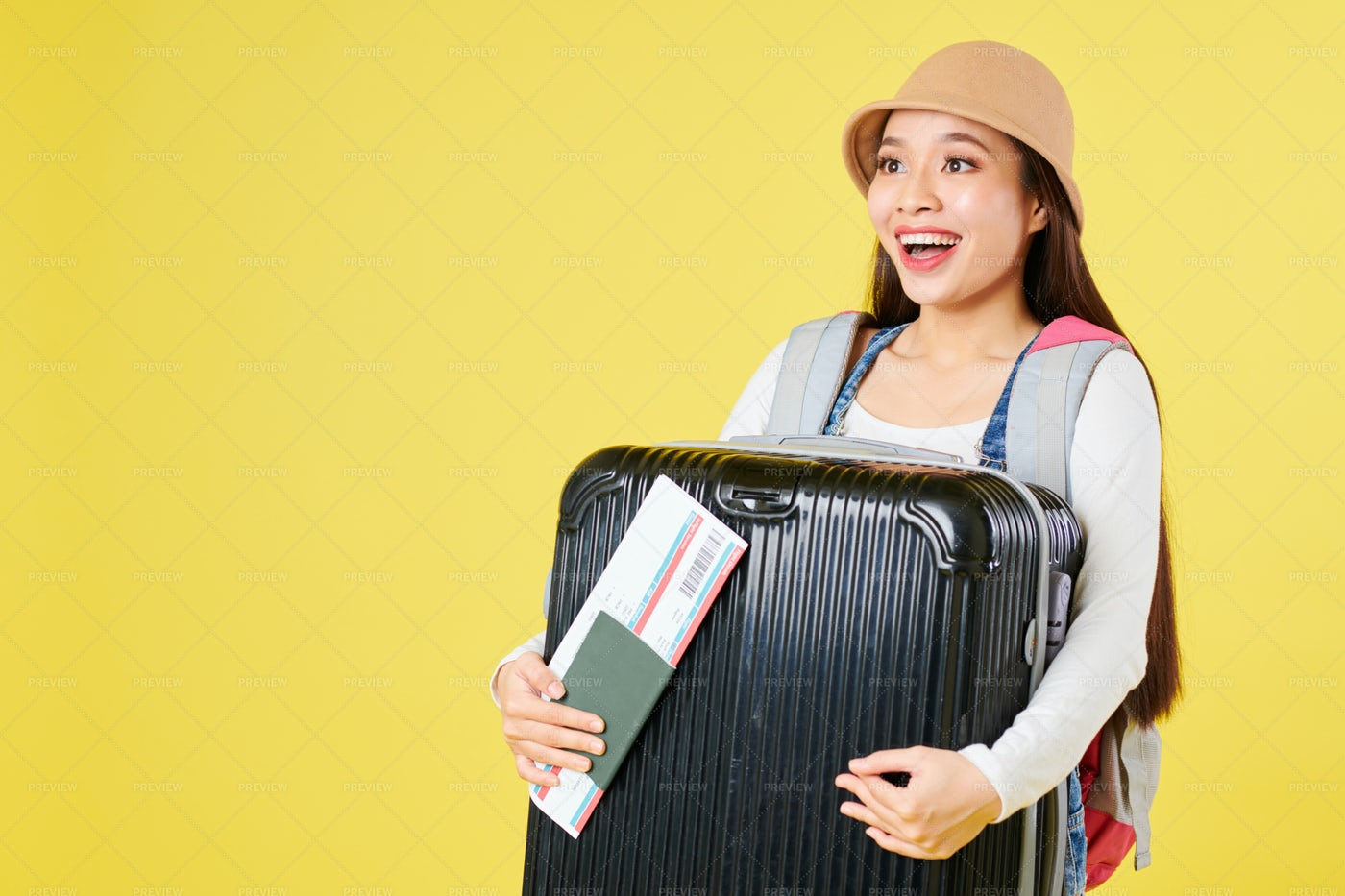 Happy Woman With Baggage: Stock Photos