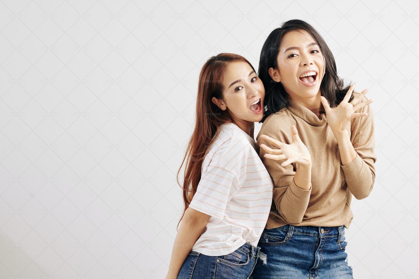 Vietnamese Girls Posing Against White: Stock Photos