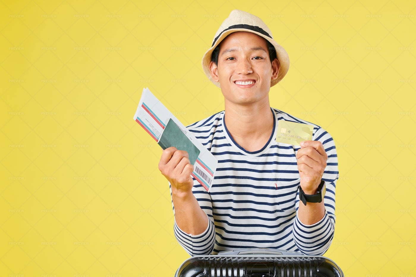 Traveler Bought Ticket With Credit Card: Stock Photos