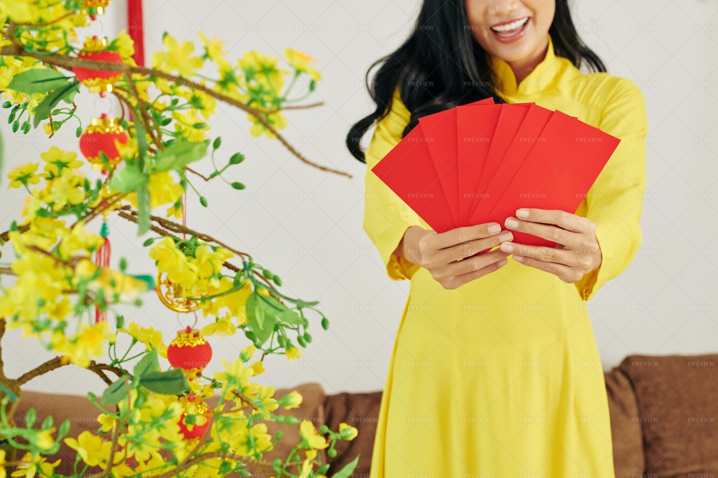 Woman Showing Envelopes With Gifts: Stock Photos