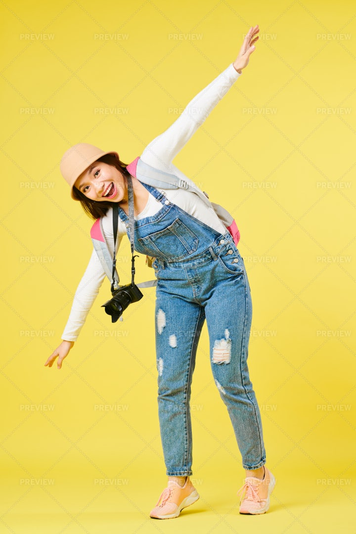 Cheerful Woman Dreaming Of Vacation: Stock Photos