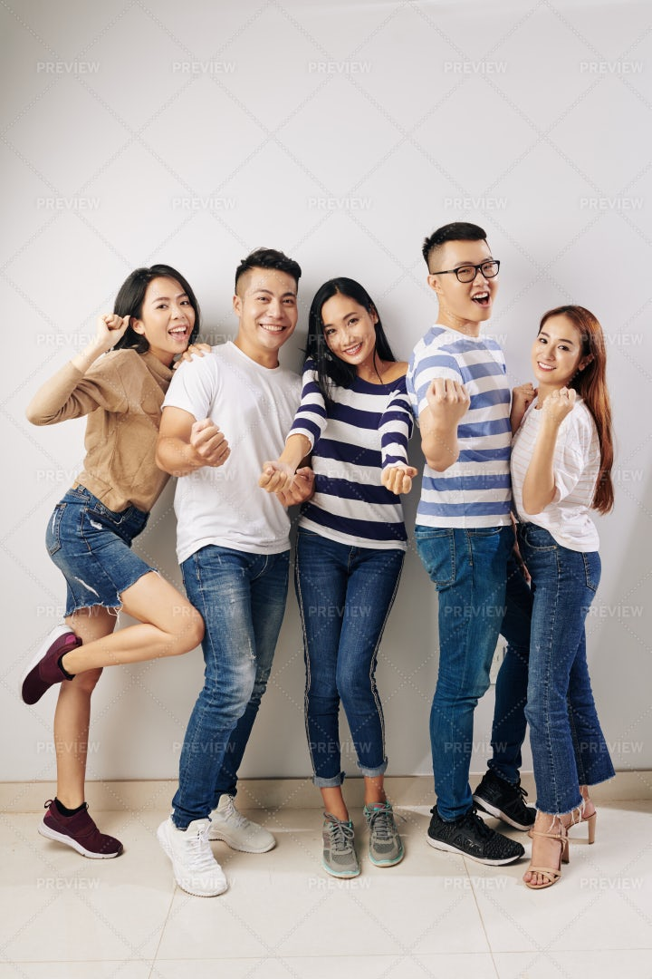Young People Posing For Photo: Stock Photos