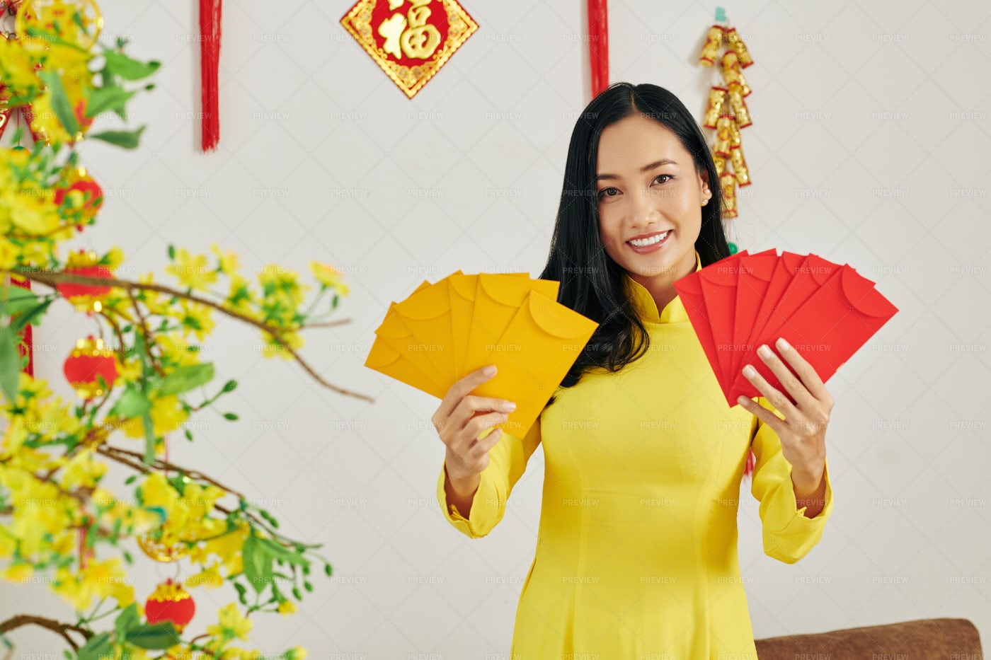 Woman Showing New Year Presents: Stock Photos