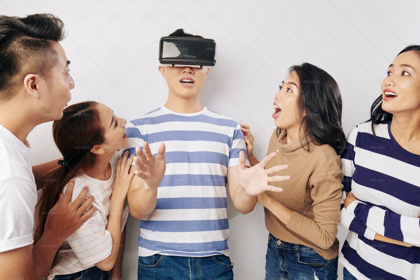 Group Of Friends With Vr Headset: Stock Photos