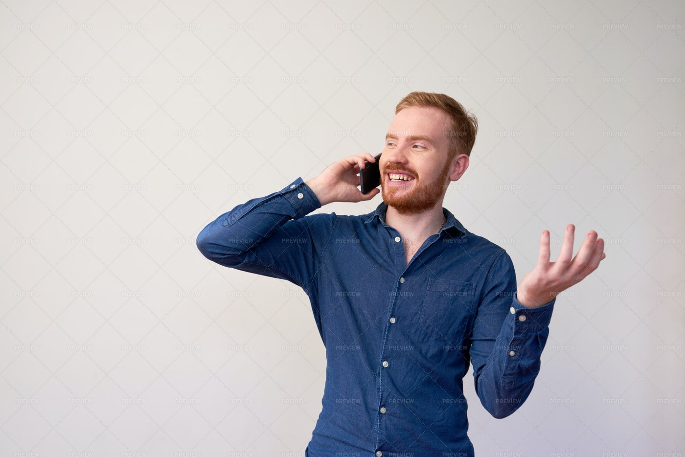 Happy Man Making Phone Call: Stock Photos