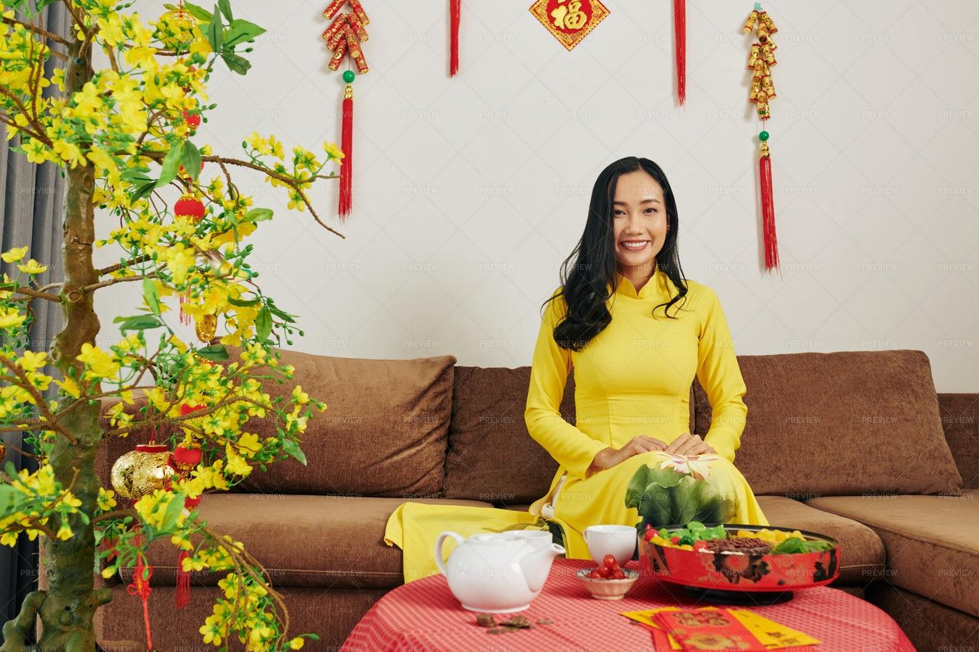 Woman Celebrating Lunar New Year: Stock Photos