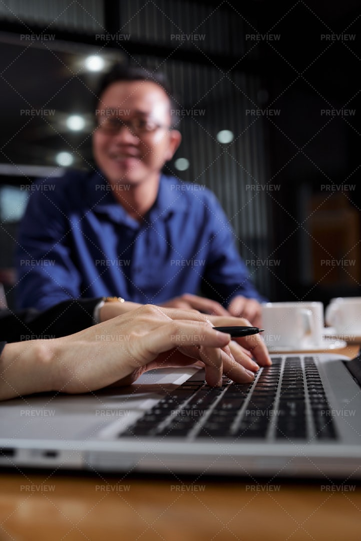 Hands Working On Laptop: Stock Photos