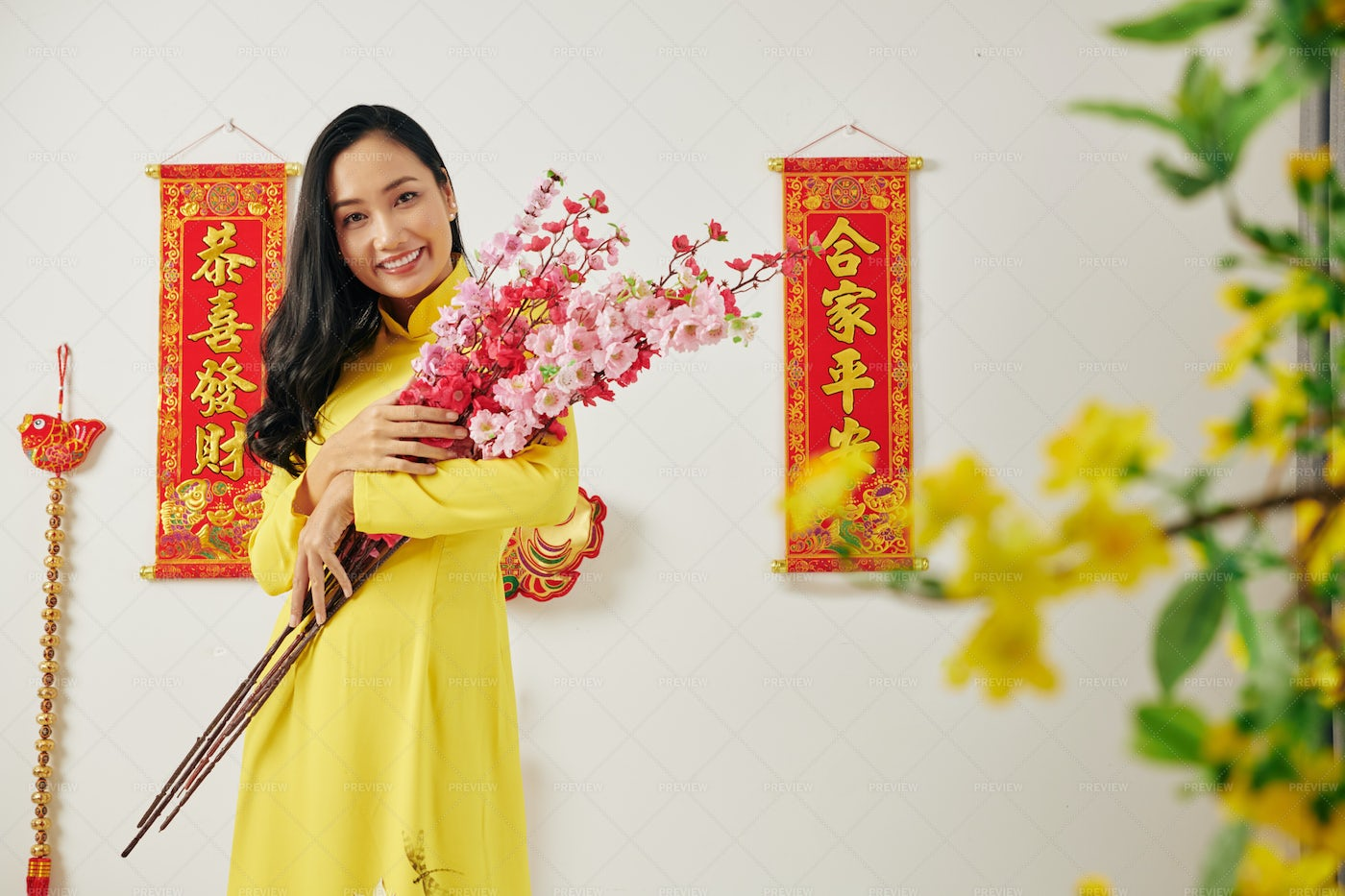 Young Woman With Peach Branches: Stock Photos