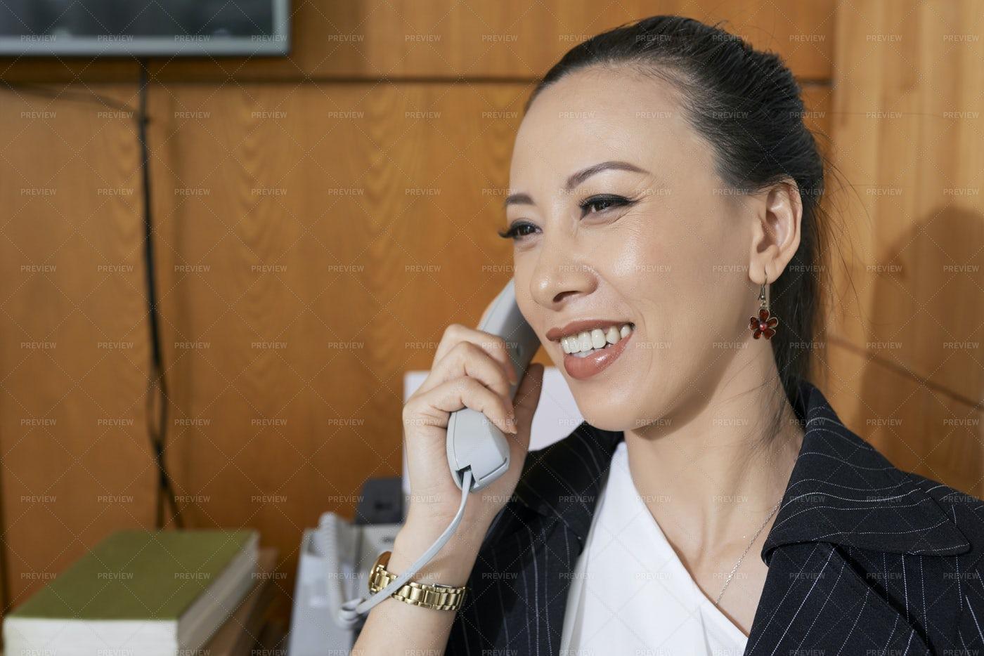 Businesswoman Has A Phone Call: Stock Photos