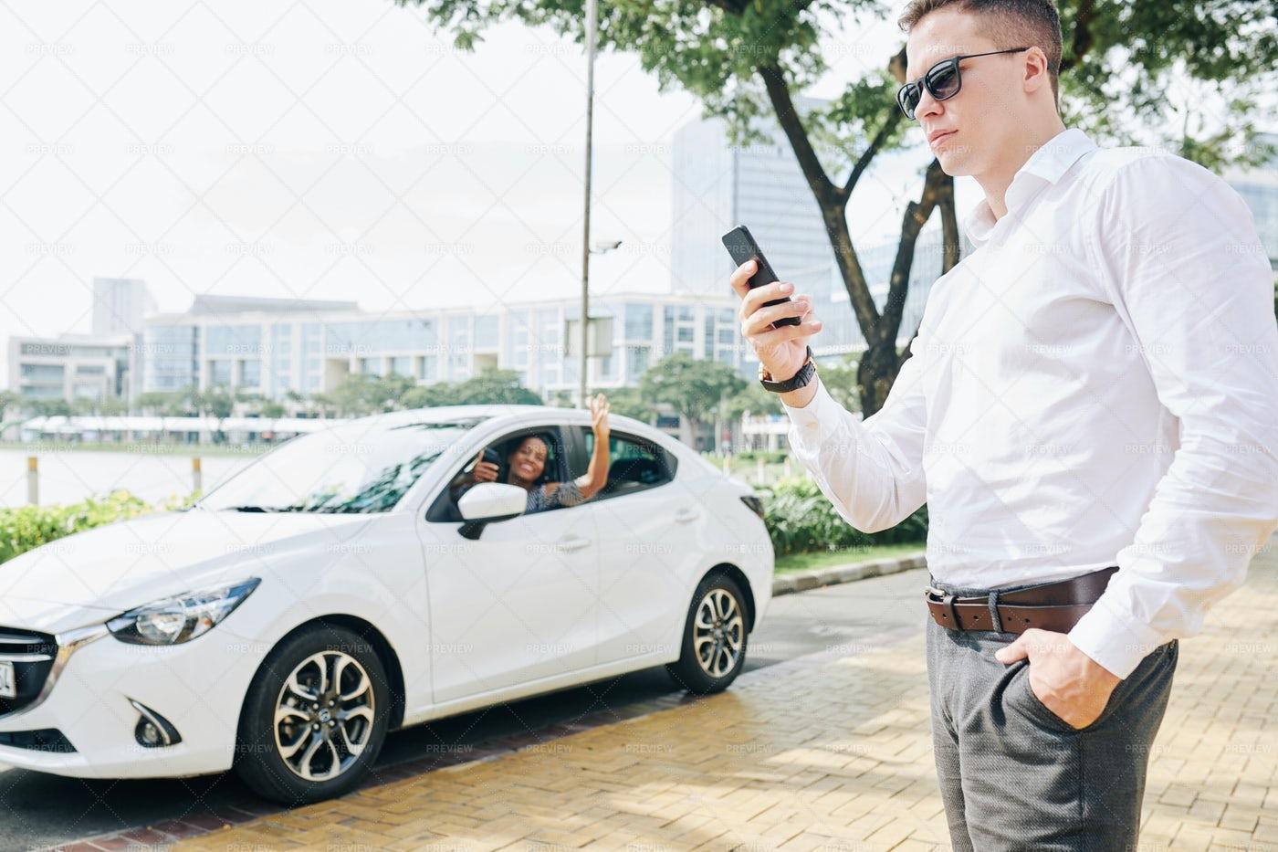 Man Waiting For A Taxi: Stock Photos