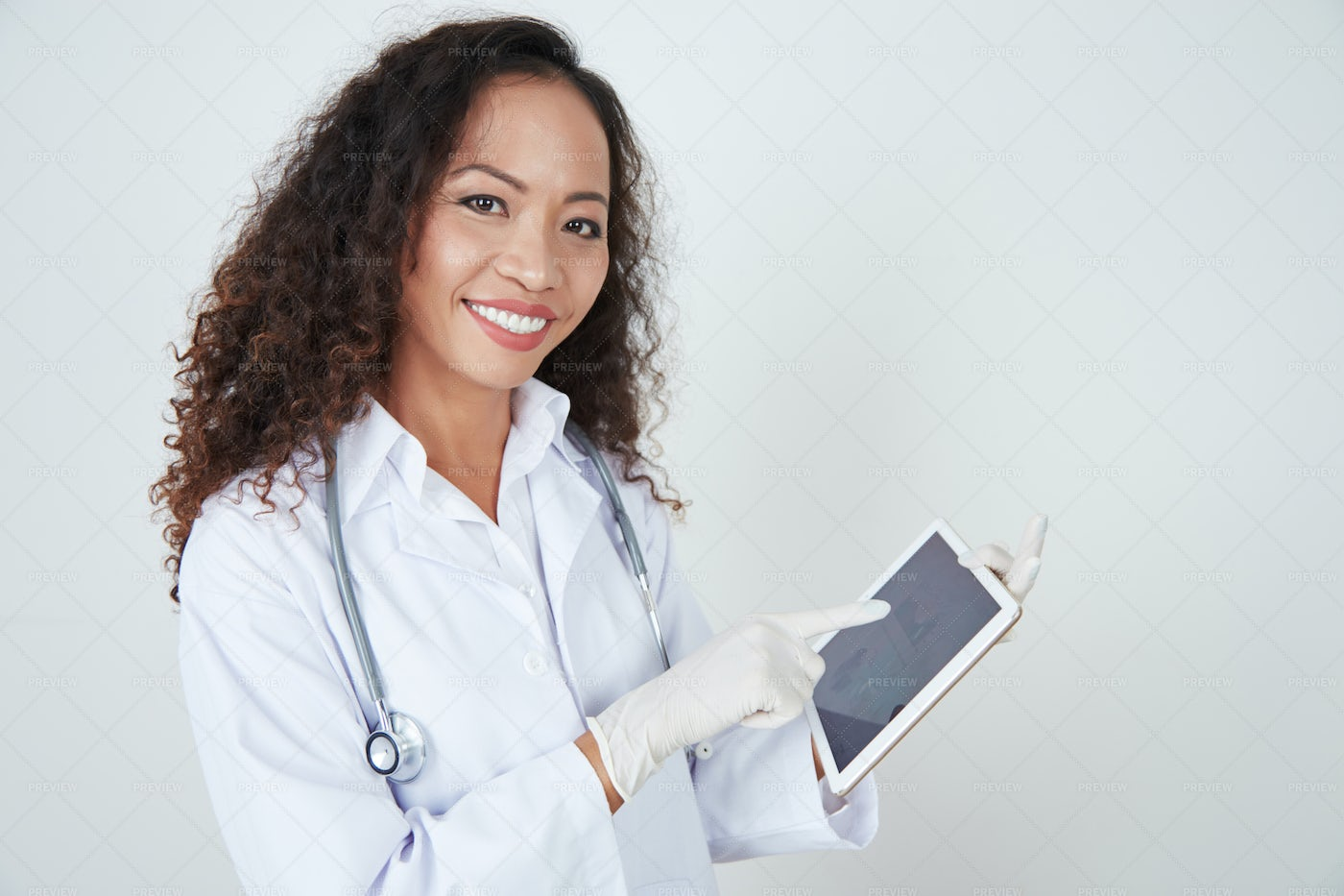 Positive Doctor With Digital Tablet: Stock Photos