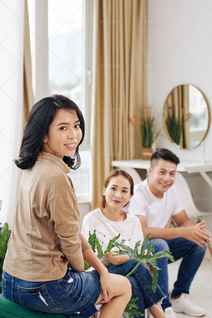 Pretty Asian Woman Attending Meeting: Stock Photos