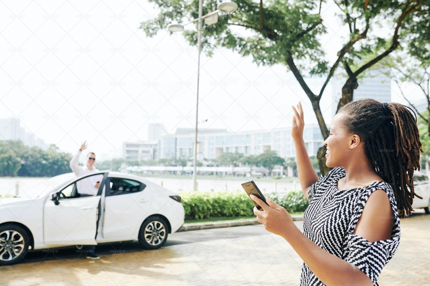 Woman Waiting For A Taxi: Stock Photos