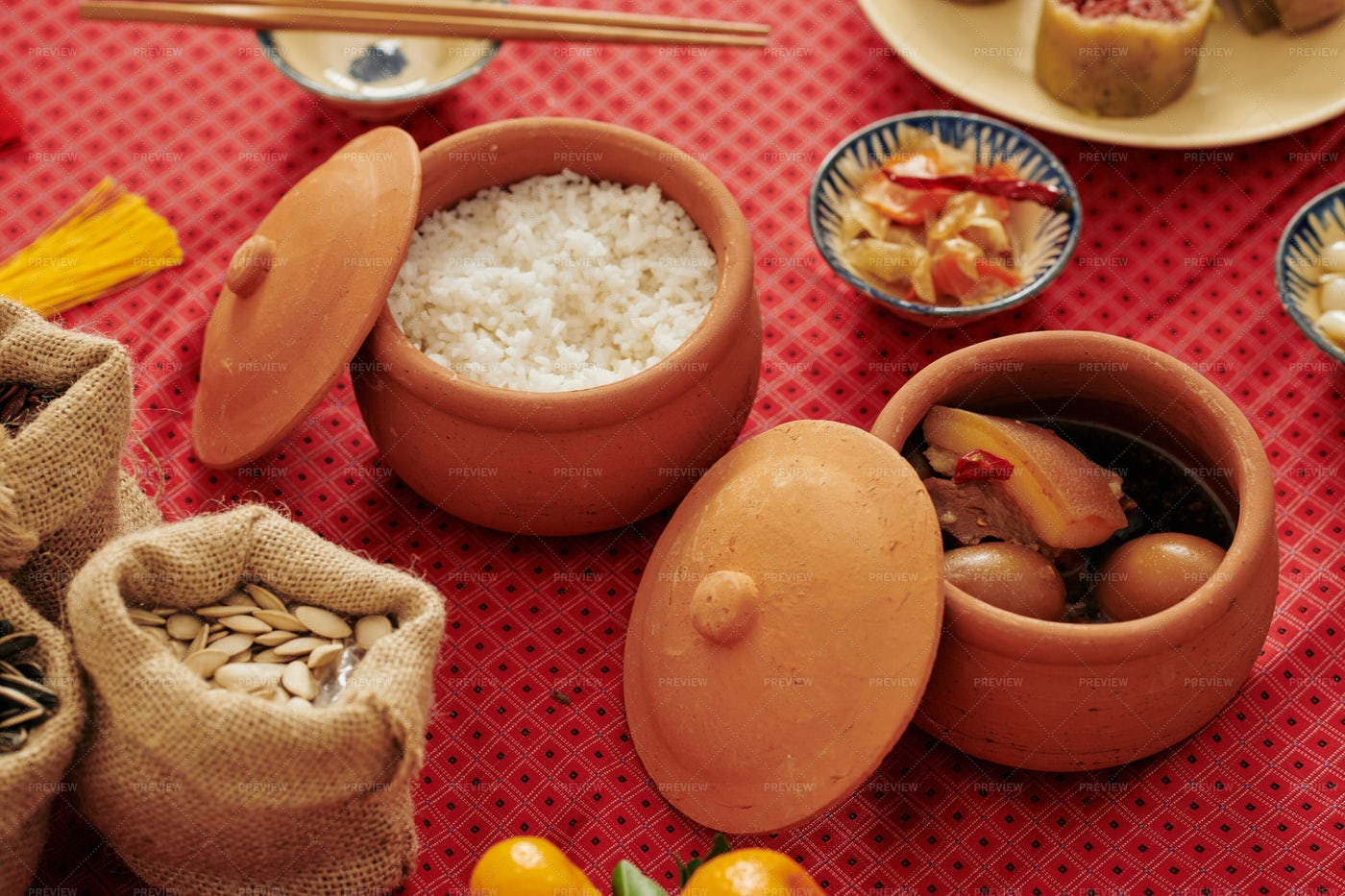 Food Served For Tet Holiday: Stock Photos