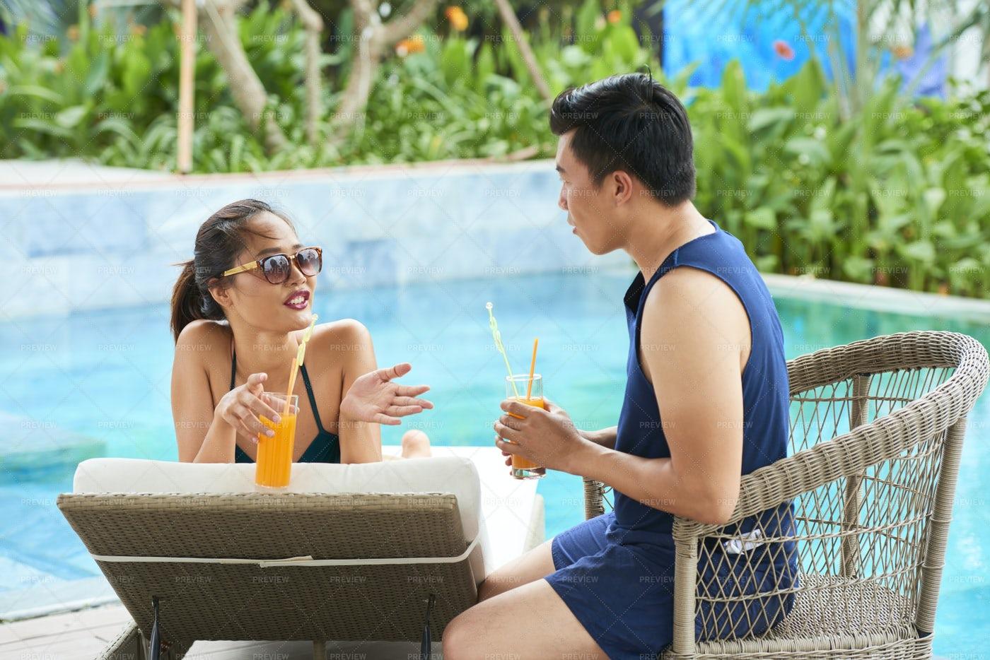 Couple Resting At Luxury Resort: Stock Photos