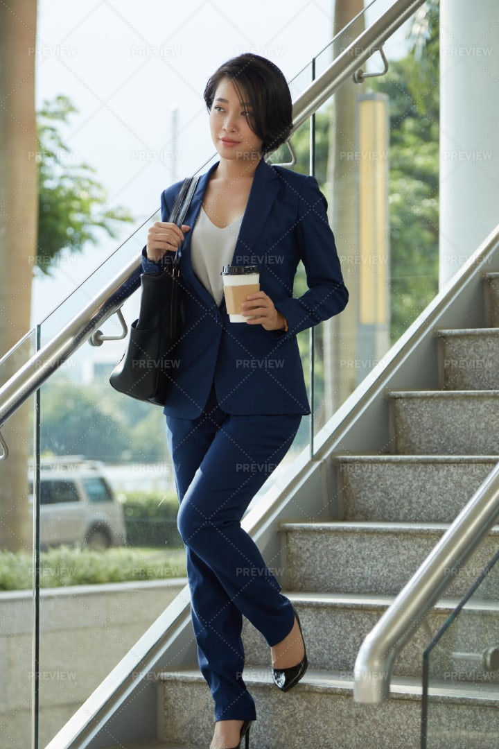 Businesswoman Finished Her Work Day: Stock Photos