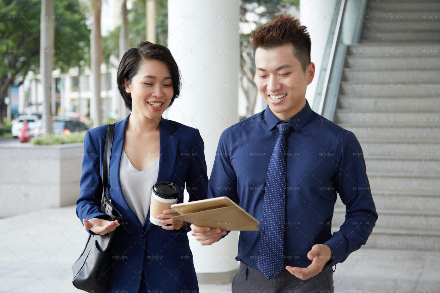 Business Couple Standing Outdoors With: Stock Photos