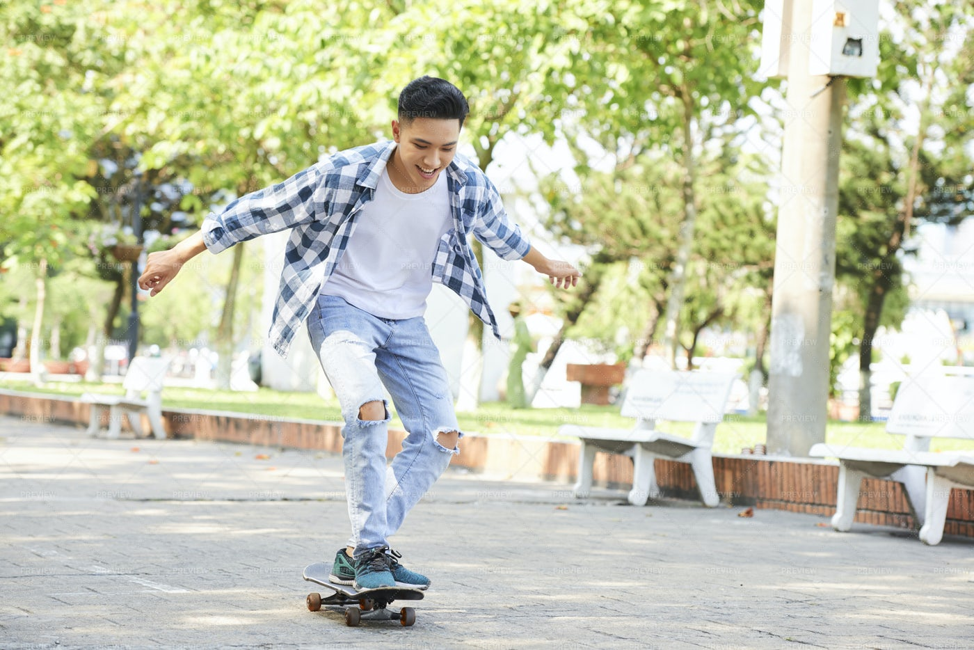 Yong Trendy Man Having Fun With: Stock Photos
