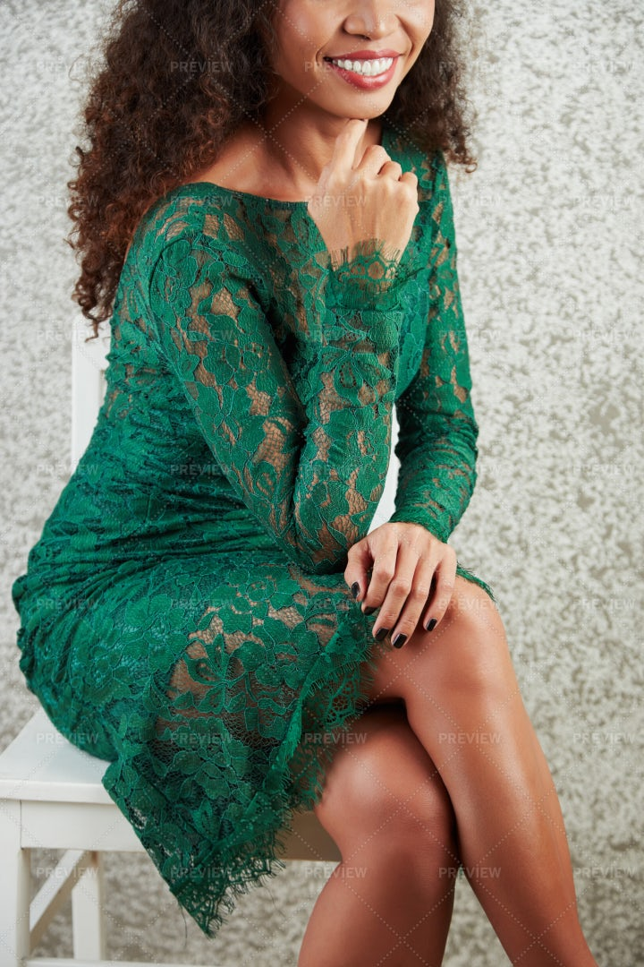 Young Woman In Green Lace Dress: Stock Photos