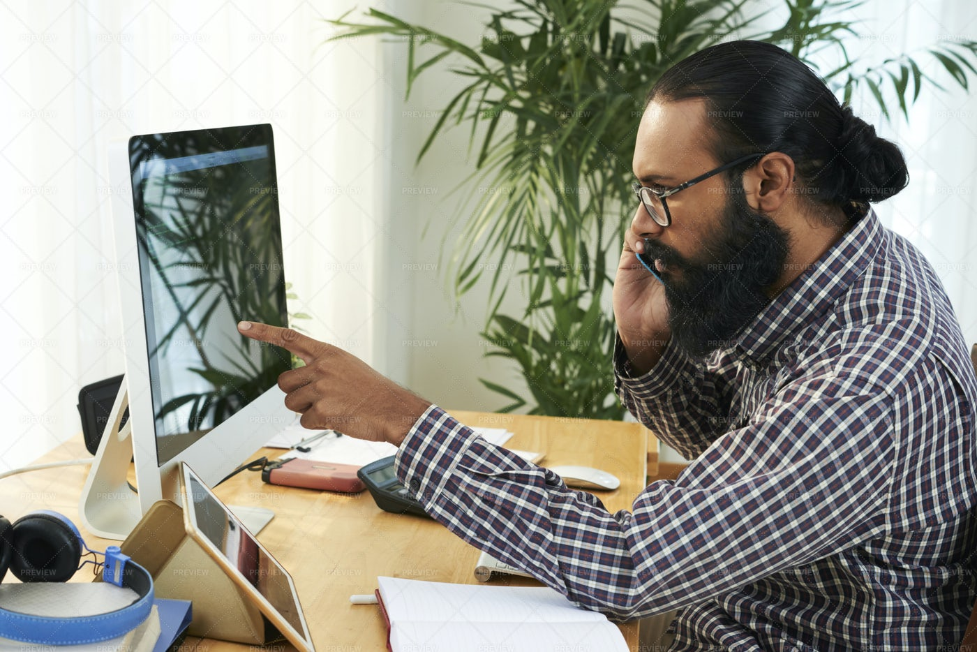 Programmer Working On Computer And: Stock Photos