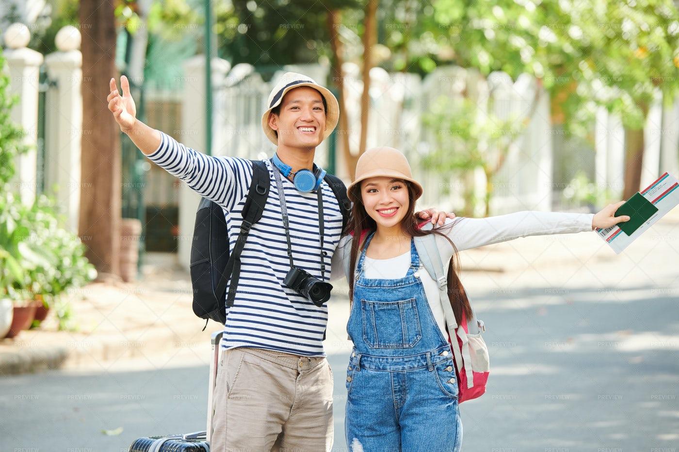 Excited Happy Travrelers: Stock Photos