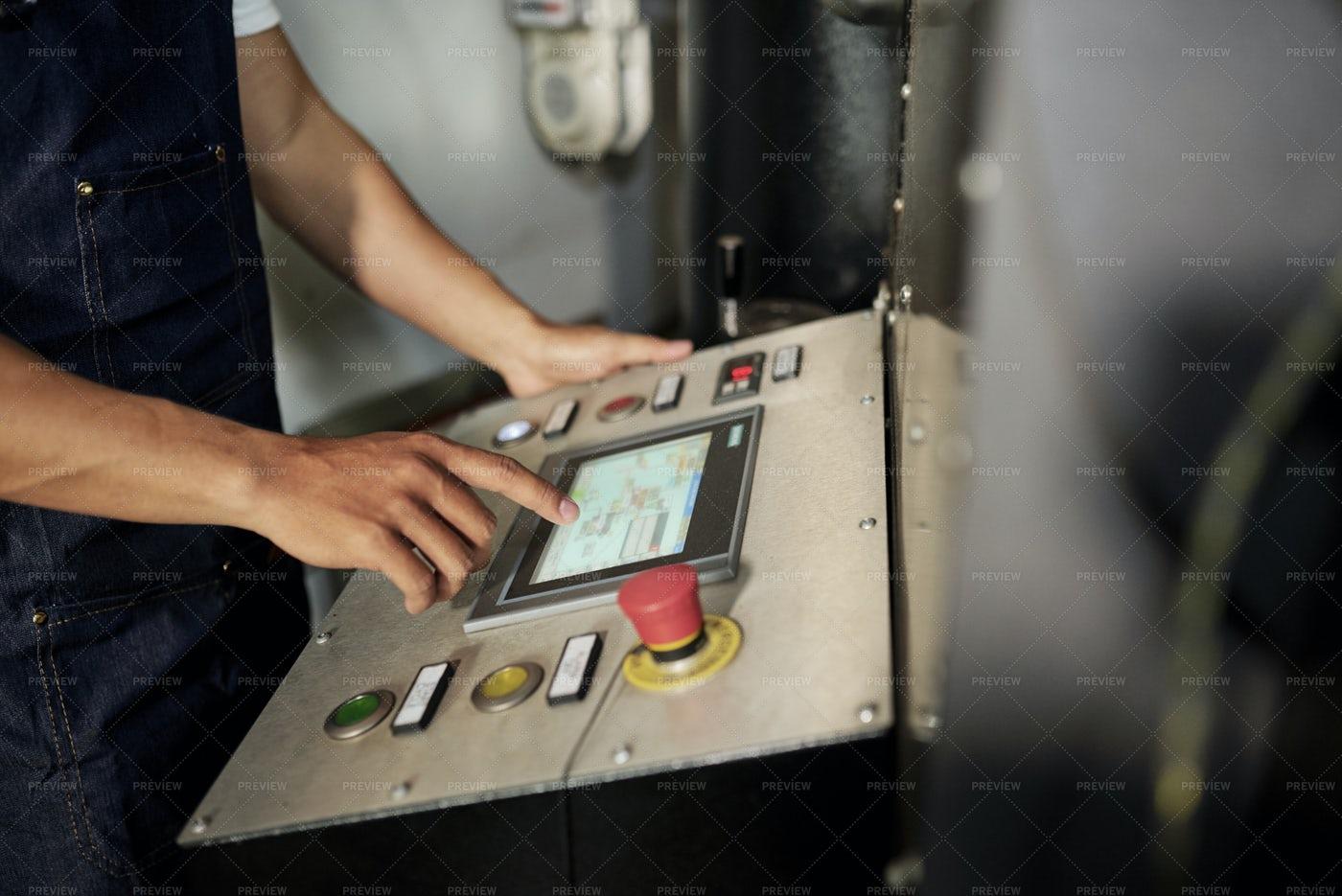 Man Working On Machine Equipment: Stock Photos