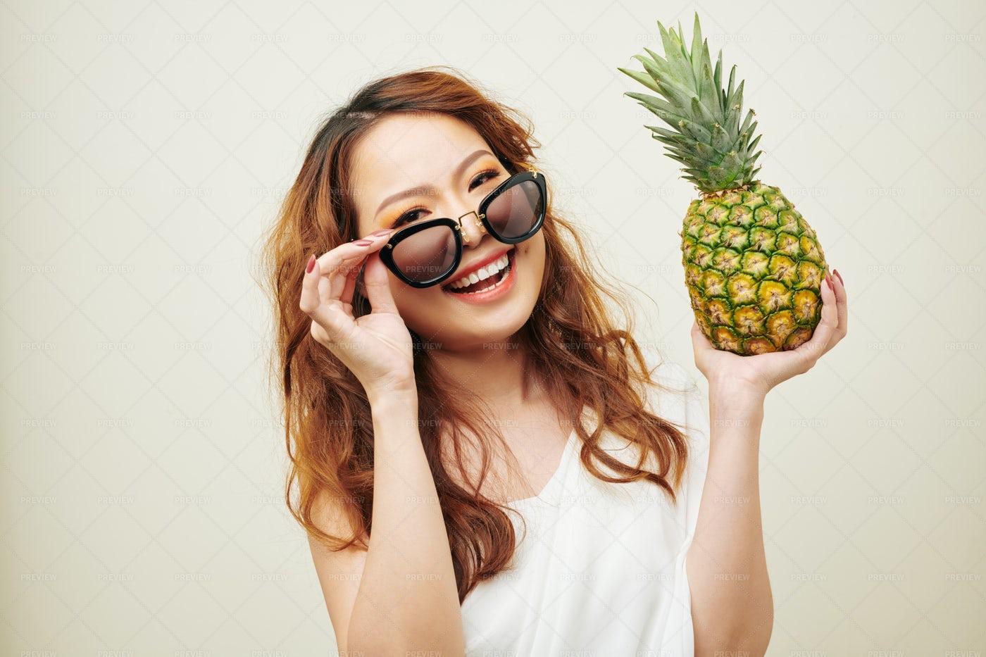 Asian Girl With Exotic Fruit: Stock Photos