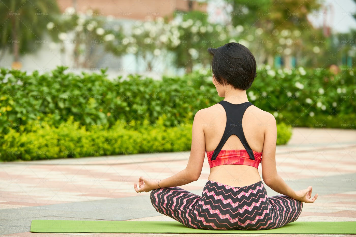 Fit Woman Training Yoga Outdoors: Stock Photos