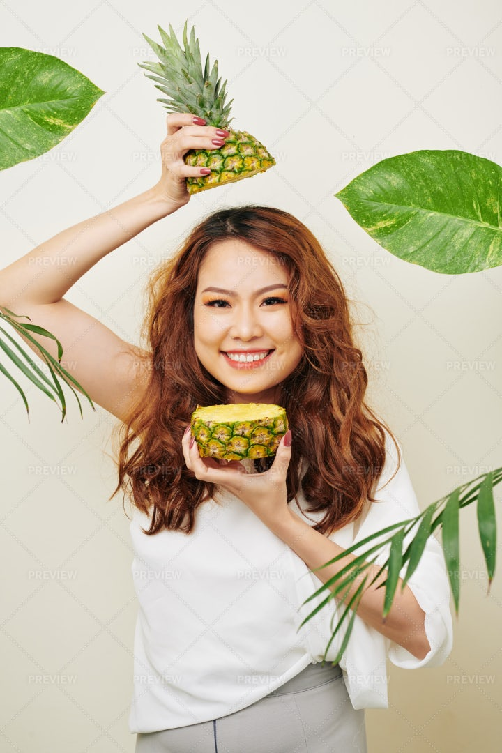 Woman With Exotic Fruit: Stock Photos