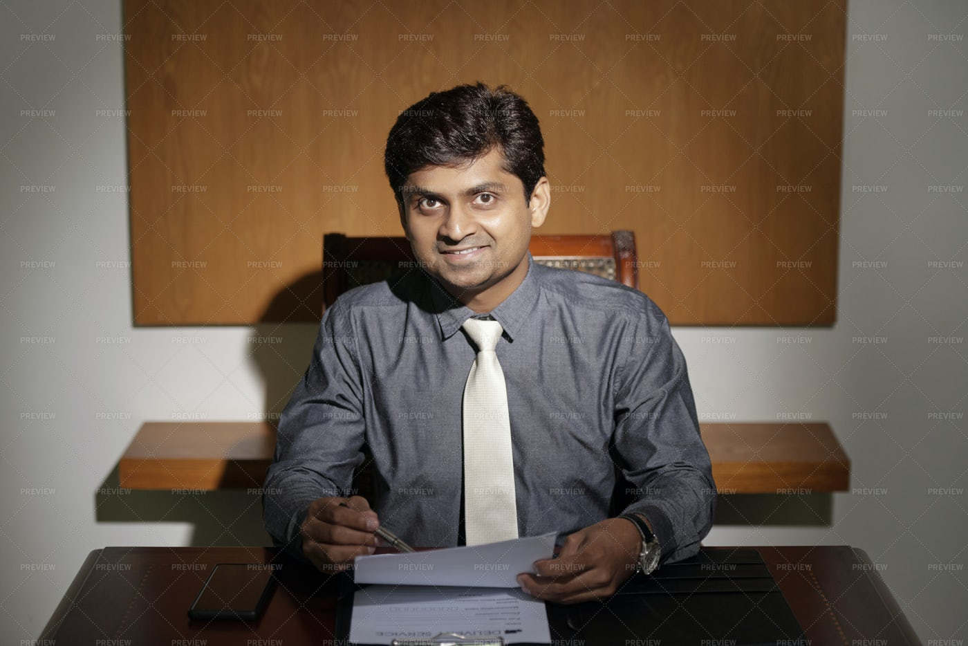 Smiling Businessman Working With: Stock Photos