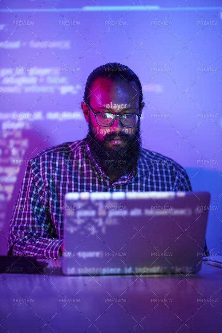 Programmer Working On Laptop: Stock Photos