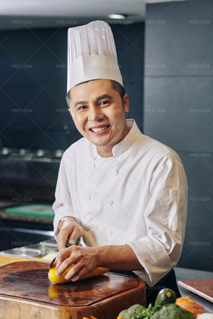Chef Cooking The Meal In The Kitchen: Stock Photos
