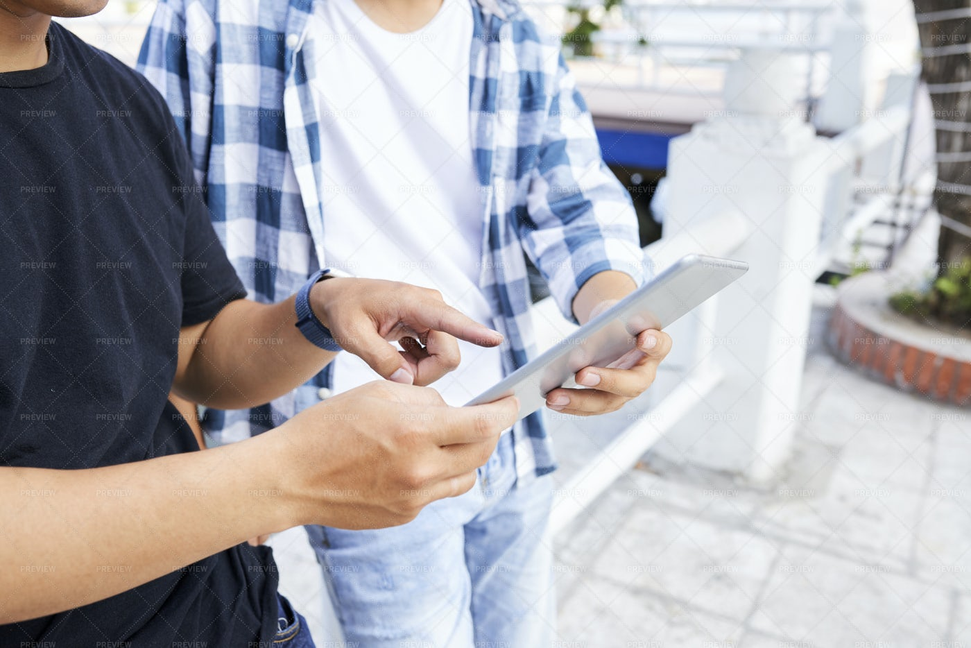 Young Men With Tablet Pc Outdoors: Stock Photos