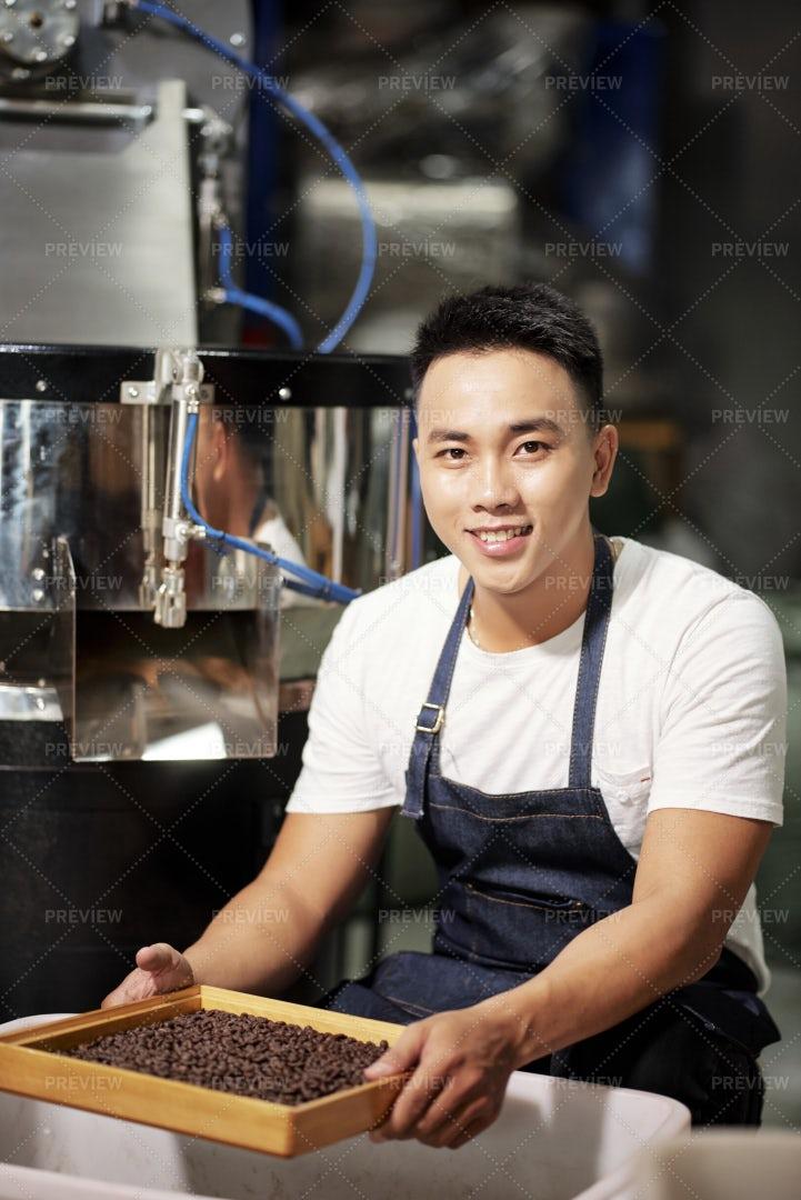 Master Has Job On Coffee Factory: Stock Photos