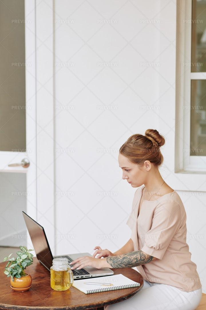 Female Freelancer Working On Laptop: Stock Photos