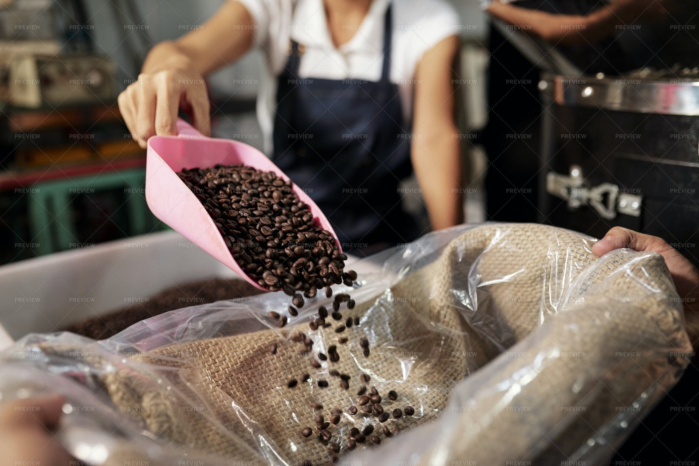 Packing Coffee Into Bag: Stock Photos