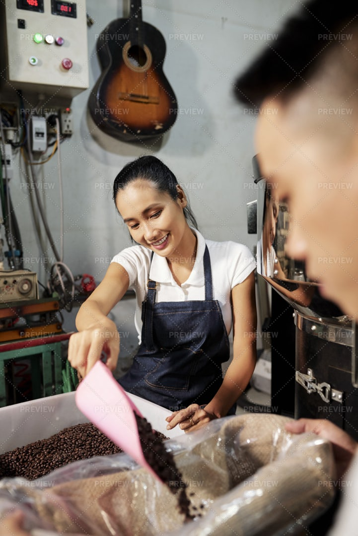 Packing Coffee Beans For Sale: Stock Photos