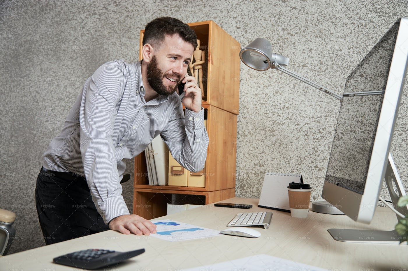 Businessman Discussing Work On The: Stock Photos