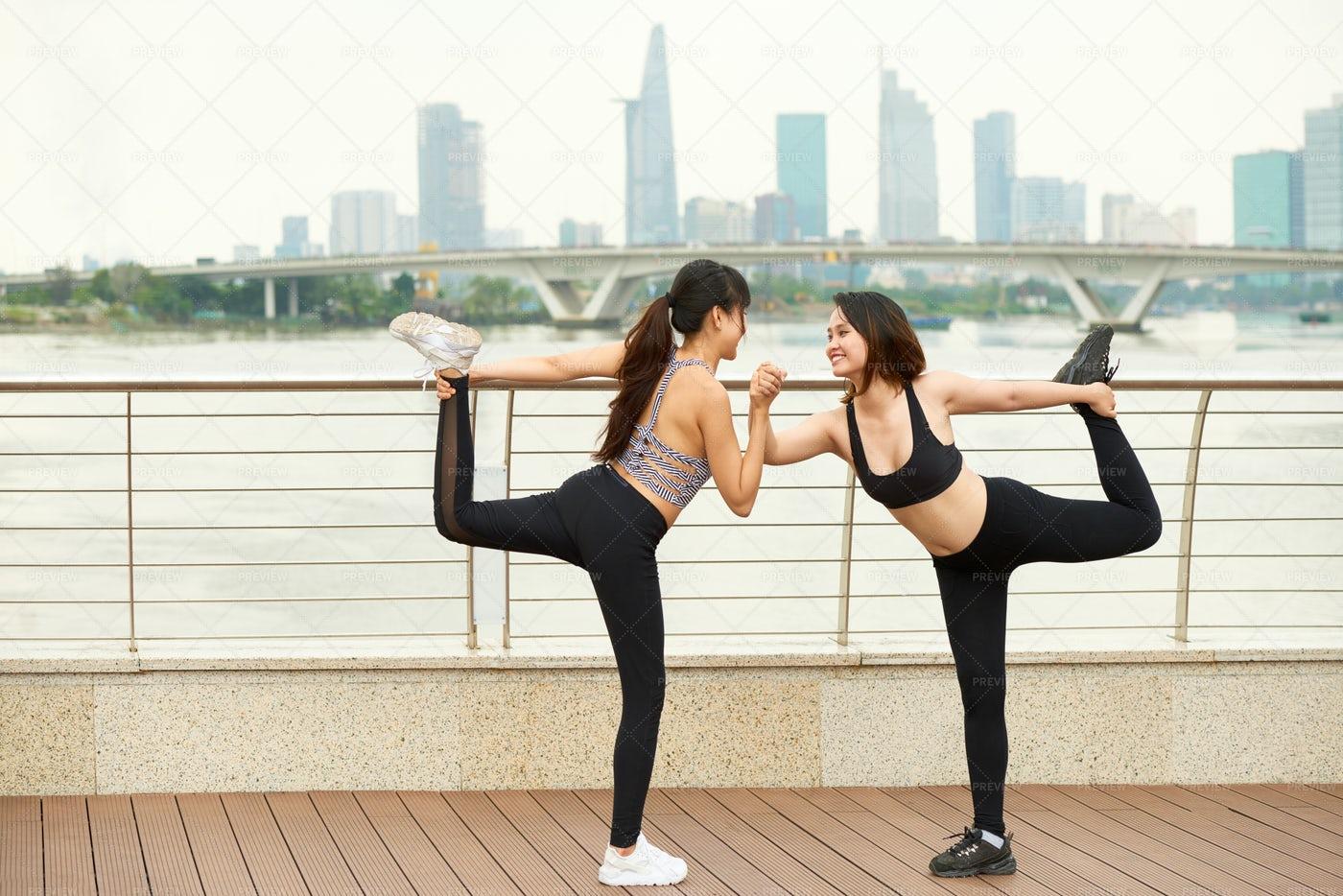 Cheerful Woman Training Yoga Together: Stock Photos