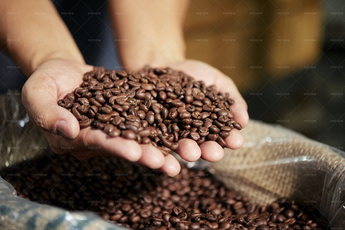 Roasted Coffee Beans In Bag: Stock Photos