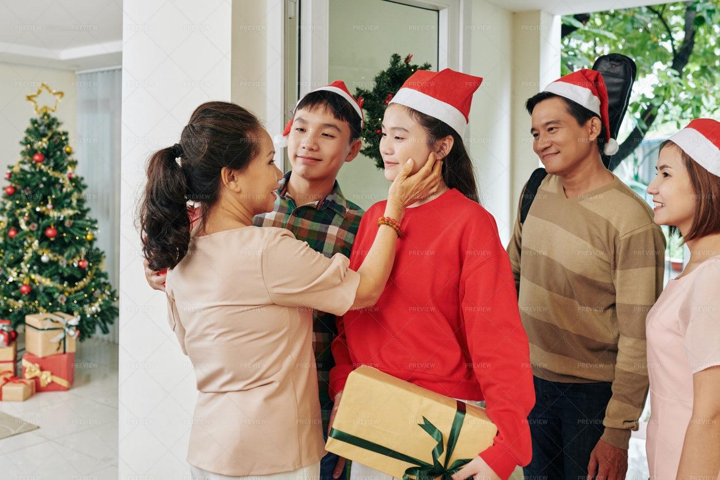 Woman Wishing Grandchildren Merry: Stock Photos