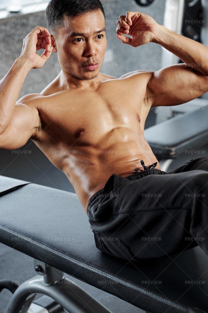 Man Doing Abs Workout: Stock Photos