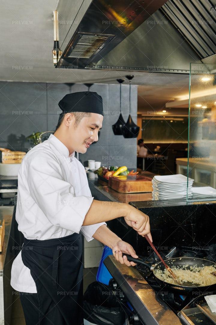 Asian Chef Cooking Rice: Stock Photos