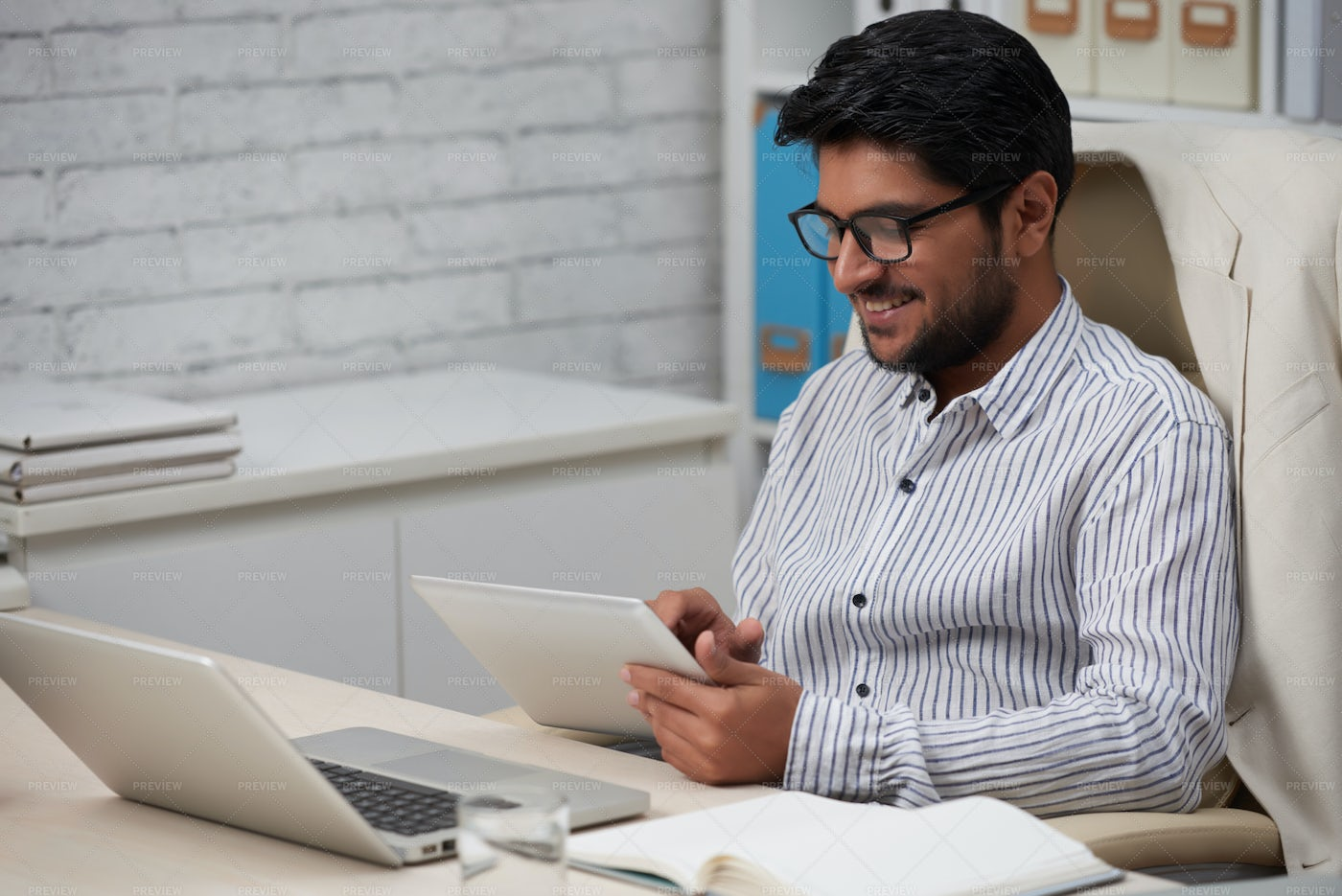 Happy Businessman With Digital Tablet: Stock Photos