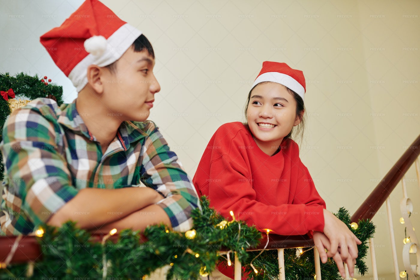 Brother And Sister On Christmas Eve: Stock Photos